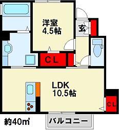 Grand Soleil B棟 1階1LDKの間取り