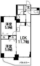 北海道札幌市豊平区美園十条4丁目の賃貸マンションの間取り