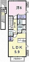 岡山県岡山市中区平井3の賃貸アパートの間取り