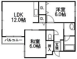 ルナソル発寒[2階]の間取り