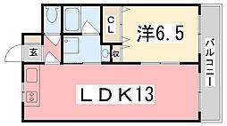 兵庫県姫路市野里の賃貸マンションの間取り