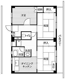 ビレッジハウス四郎丸3号棟3階Fの間取り画像