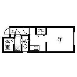 ADVAN wakou 1階1Kの間取り
