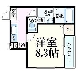 阪神本線 大石駅 徒歩5分の賃貸アパート 2階1Kの間取り