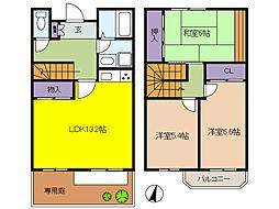 ガーデンハウス宮川B棟 1階3LDKの間取り