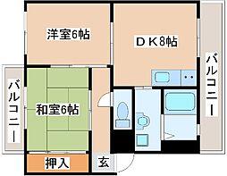 JR山陽本線 明石駅 バス20分 吉田下車 徒歩8分の賃貸アパート 2階2DKの間取り