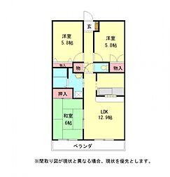 愛知県小牧市大字間々原新田の賃貸マンションの間取り