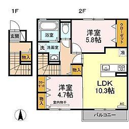 D−room南吉田(仮)[C202 号室号室]の間取り