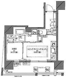 ピアース渋谷WEST 10階1LDKの間取り