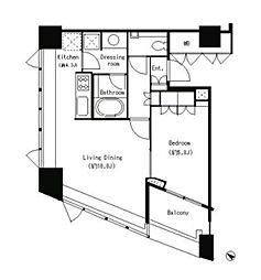 JR山手線 目黒駅 徒歩5分の賃貸マンション 8階1LDKの間取り