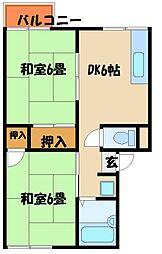 兵庫県明石市太寺天王町の賃貸アパートの間取り