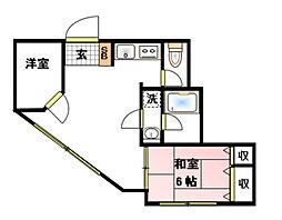 神奈川県横浜市保土ケ谷区今井町の賃貸アパートの間取り