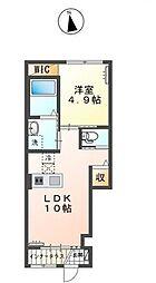 JR赤穂線 西大寺駅 徒歩22分の賃貸アパート 1階1LDKの間取り