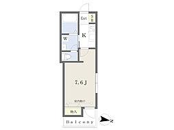 JR常磐線 北千住駅 徒歩8分の賃貸マンション 2階1Kの間取り