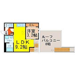 名鉄瀬戸線 尼ヶ坂駅 徒歩5分の賃貸アパート 2階1LDKの間取り