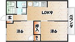 福岡県北九州市小倉南区長行東2丁目の賃貸アパートの間取り