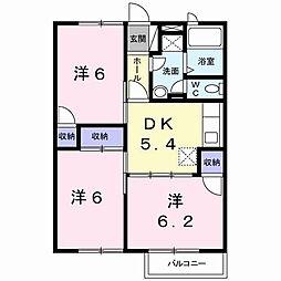 福岡県北九州市八幡西区浅川町の賃貸アパートの間取り