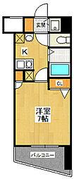 エコロジー宝塚レジデンス 9階1Kの間取り