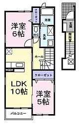 大阪府和泉市箕形町5丁目の賃貸アパートの間取り