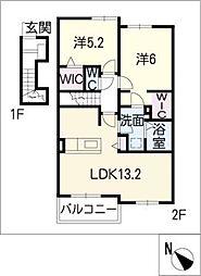 プラシード B棟[2階]の間取り