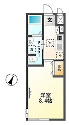 埼玉県坂戸市末広町の賃貸アパートの間取り
