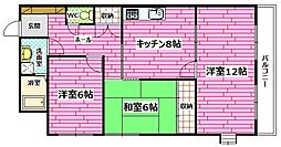 広島県安芸郡府中町柳ケ丘の賃貸マンションの間取り