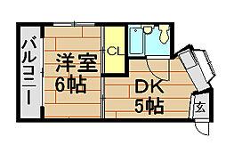 岸田ハイツ[3階]の間取り