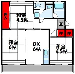 福岡県古賀市花鶴丘2丁目の賃貸マンションの間取り