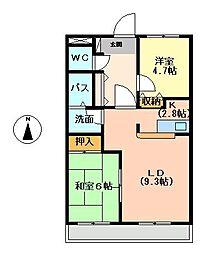 茨城県龍ケ崎市川崎町の賃貸アパートの間取り