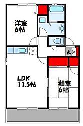 西鉄貝塚線 西鉄新宮駅 徒歩10分の賃貸アパート 2階2LDKの間取り