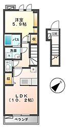 三重県桑名市松ノ木7の賃貸アパートの間取り