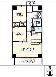 GRAN R TATSUMI 3階2LDKの間取り