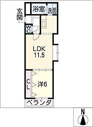 クレール 旭[5階]の間取り