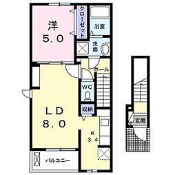 広島電鉄宮島線 楽々園駅 徒歩31分の賃貸アパート 2階1LDKの間取り