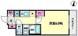 エステムコート難波サウスプレイスVIラグジー 13階1Kの間取り