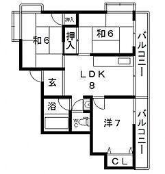 和光ハイツ[4階]の間取り