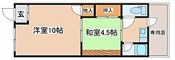 兵庫県明石市硯町1丁目の賃貸アパートの間取り