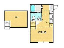 JR横浜線 淵野辺駅 徒歩6分の賃貸アパート 1階ワンルームの間取り