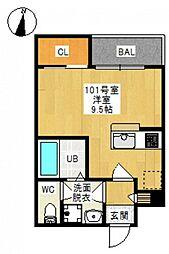 JR吉備線 備前三門駅 徒歩10分の賃貸アパート 1階ワンルームの間取り