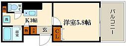 レフィナード恵美須[8階]の間取り