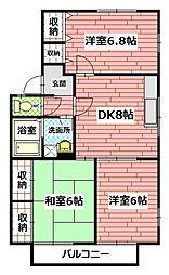 広島県広島市安佐南区中筋3丁目の賃貸アパートの間取り