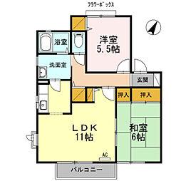 福島県郡山市新屋敷2丁目の賃貸アパートの間取り