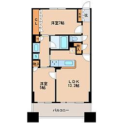 JR仙石線 仙台駅 徒歩5分の賃貸マンション 3階2LDKの間取り