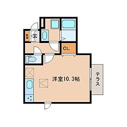 JR関西本線 奈良駅 徒歩20分の賃貸アパート 1階ワンルームの間取り