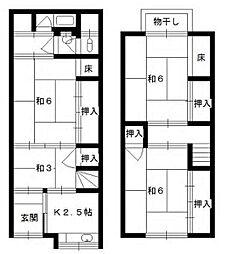 近鉄南大阪線 矢田駅 徒歩10分 4Kの間取り