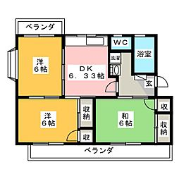 コーポ富士見[1階]の間取り