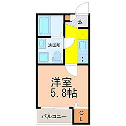 仮称)山田町三丁目デザイナーズ(ヤマダチョウサンチョウメデザ[2階]の間取り