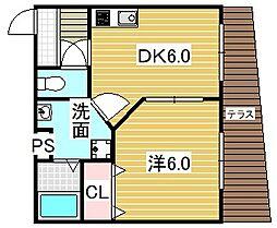 大阪府吹田市内本町3丁目の賃貸アパートの間取り