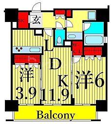 JR山手線 鶯谷駅 徒歩8分の賃貸マンション 8階2LDKの間取り