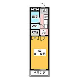 エントピア岐阜II 3階1Kの間取り